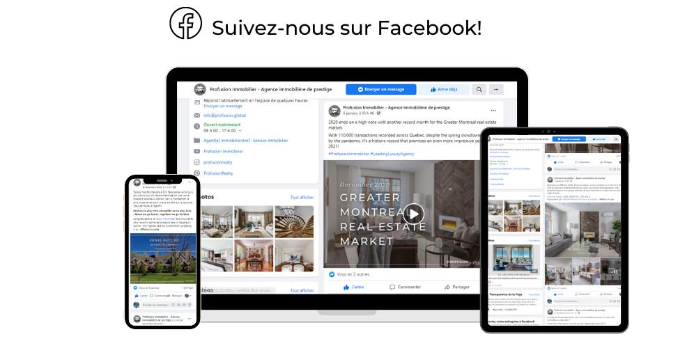 Trouver Profusion Immobilier sur Facebook!
